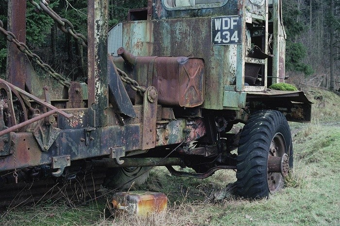 An ex-military vehicle converted into a forestry crane.