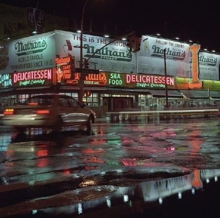 August 2006: Neon reflections after the rain - Coney Island NY, USA.