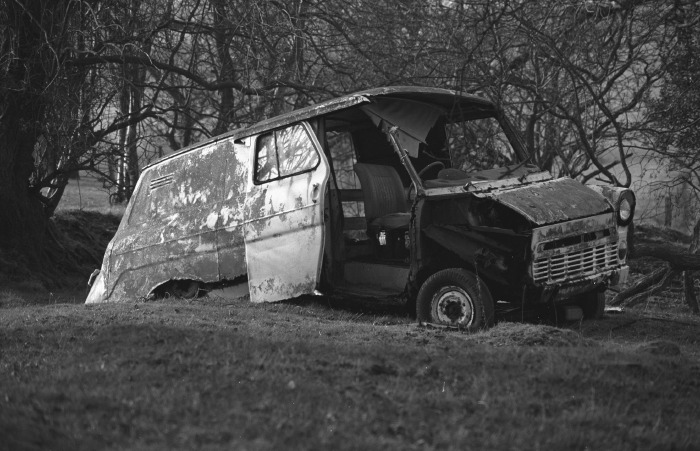 Ford Transit in a state of collapse.